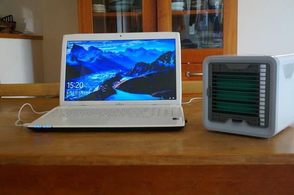 USB電源でパソコンにつなぐここひえ