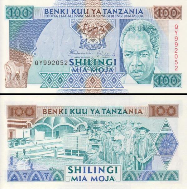 100 Shilingi Tanzánia 1993, P24
