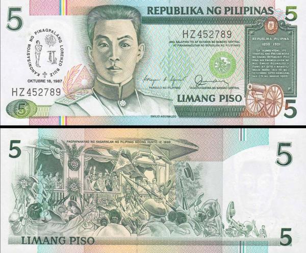 5 Piso Filipíny 1987, P176a