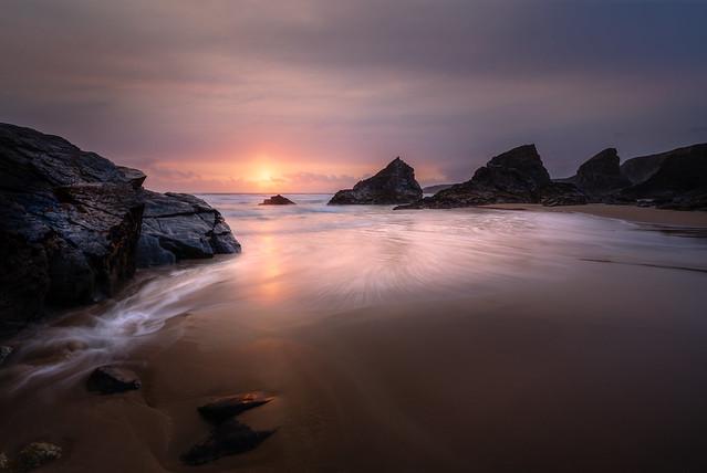 Sunset, Bedruthan Steps