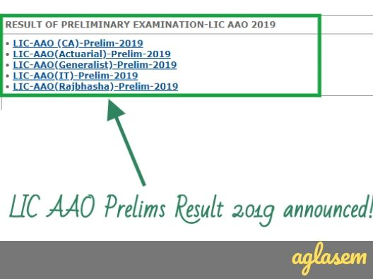 LIC AAO Result 2019 Prelims announced