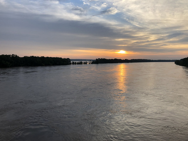 Sunrise over high water