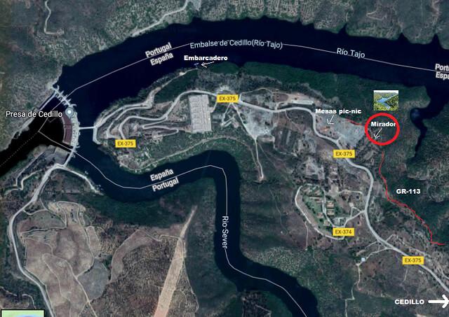 Mapa del mirador al Tajo Internacional en Cedillo