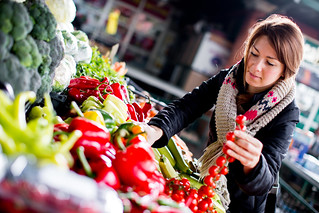 woman picking fresh vegetables