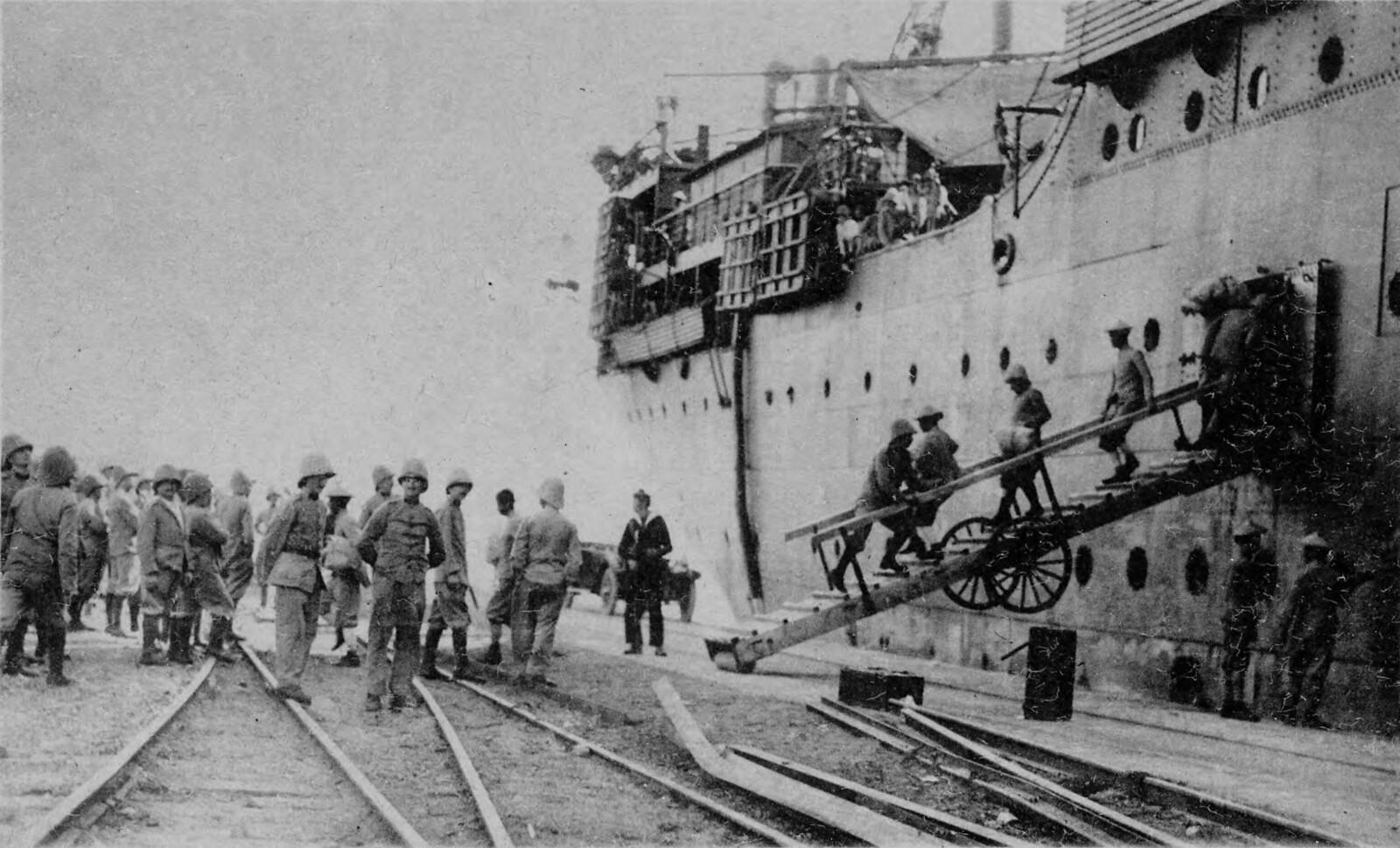 1918. Высадка французских колониальных войск с лайнера «Андре Лебон»