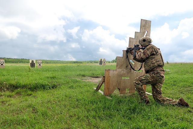 Task Force Carentan Soldiers conduct short range marksmanship training at Gallery 9, Yavoriv, Ukraine.