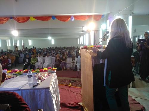 Vassula giving her speech at the Award Ceremony