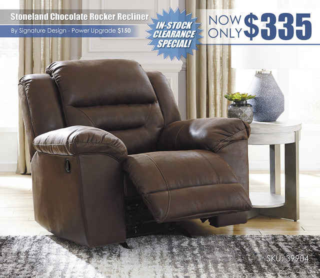 Stoneland Chocolate Rocker Recliner_39904-25-OPEN