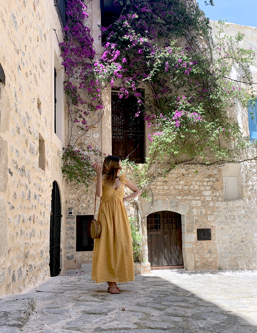 mustard embroidered midi dress straw bag street style outfit 2019 vacation ibiza13