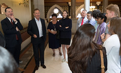 Rep. John Frey shares a laugh with Governor Lamont and a group of legislative and municipal interns at the state capitol on the penultimate day of the 2019 legislative session.