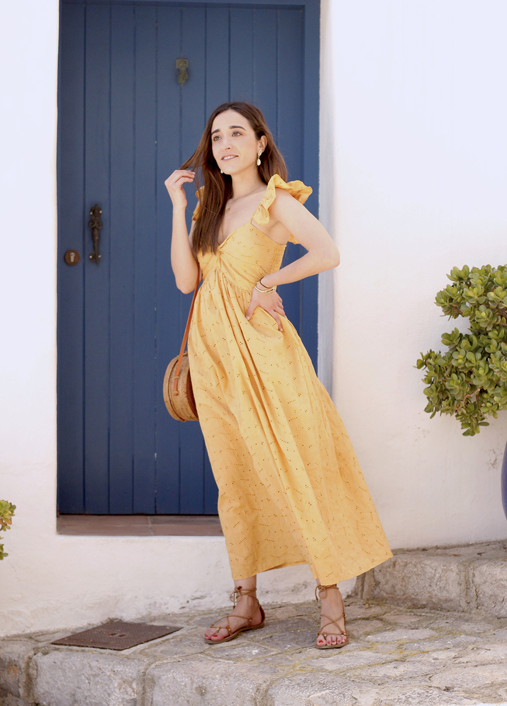 mustard embroidered midi dress straw bag street style outfit 2019 vacation ibiza9
