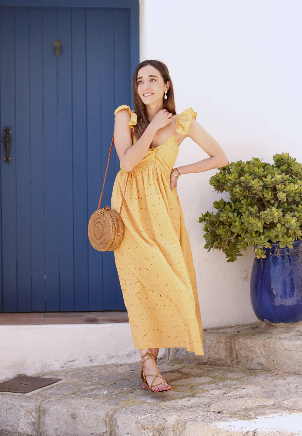 mustard embroidered midi dress straw bag street style outfit 2019 vacation ibiza8
