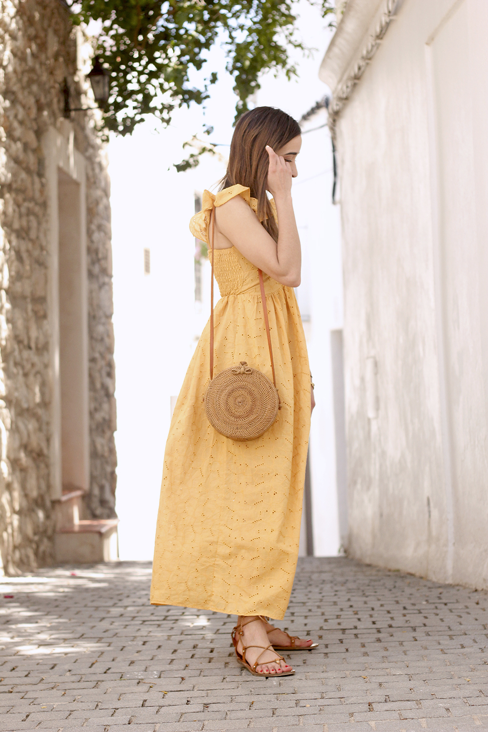 mustard embroidered midi dress straw bag street style outfit 2019 vacation ibiza6
