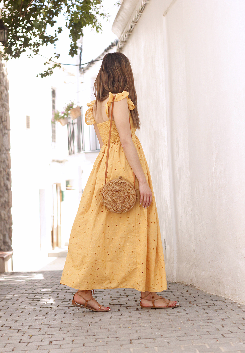 mustard embroidered midi dress straw bag street style outfit 2019 vacation ibiza5
