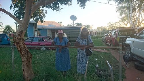 Features artists Dinah Norman and Jemima Miller of Waralungku Arts. Photograph courtesy of Waralungku Arts.