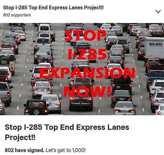 https://www.change.org/p/georgia-department-of-transportation-stop-the-i-285-top-end-express-lanes-project