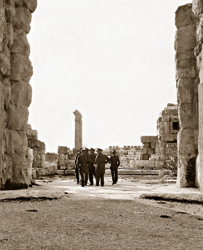 November 1942 - Allies Army officers in the Great Court at Baalbek, Syria (now North Lebanon)