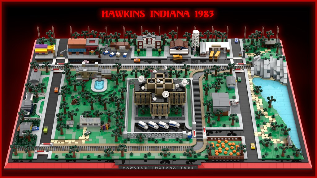 Stranger Things Hawkins Indiana 1983 (custom built Lego model)