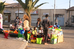 Ethiopian street vendors behind Asmara's central market. Since the border opened, cheap Ethiopian merchandise is being sold throughout Eritrea. Credit: Milena Belloni/IPS