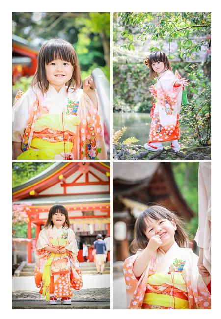 七五三 家族写真 3歳の女の子 オレンジ色の着物
