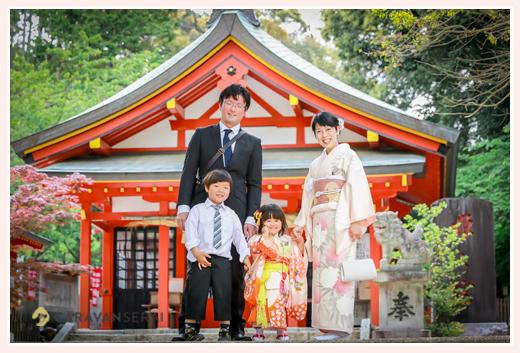 七五三 家族写真 3歳の女の子 大縣神社 愛知県犬山市