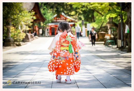 七五三 3歳の女の子 後ろ姿 オレンジの着物