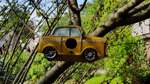 Yellow taxi birdhouse