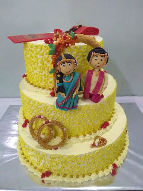 Wedding Cake for an Indian (Maharashtrian) Couple by Cakesisters