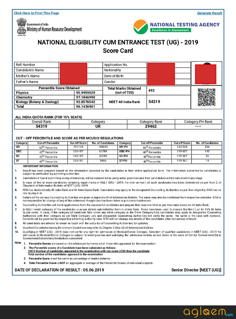Neet 2020 Result Check Neet Result Link Timing Download Score Card Here Aglasem Admission