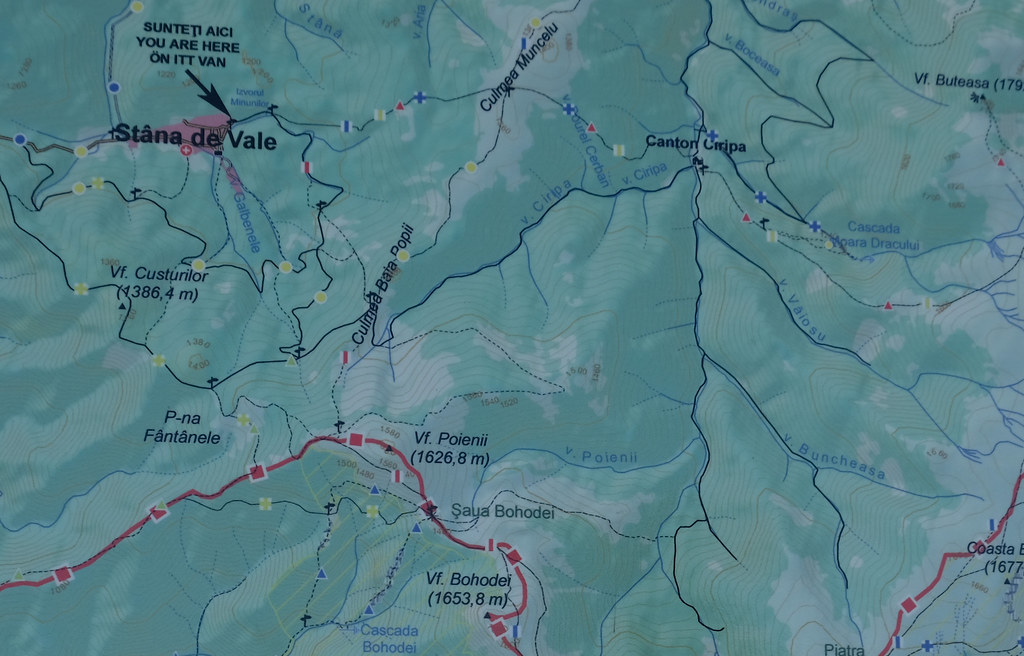 Map of Săritoarea Ieduțului loop trail, Apuseni Mountains, Romania