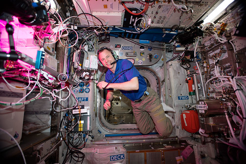 NASA astronaut Nick Hague during a HAM radio session