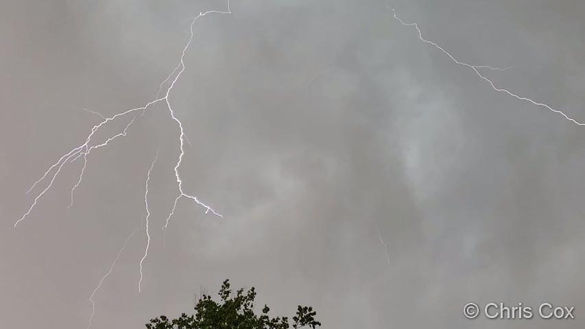 Lightning streaks across the skies over Thornton. (Chris Cox)