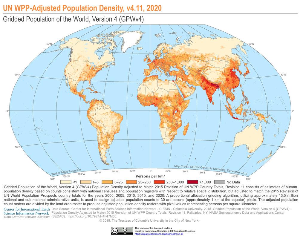 UN WPP-Adjusted Population Density, v4.11, 2020