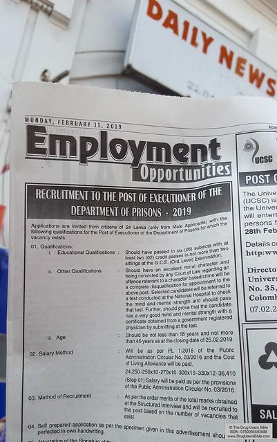 Employment Opportunities For Killers [Kandy, Sri Lanka]