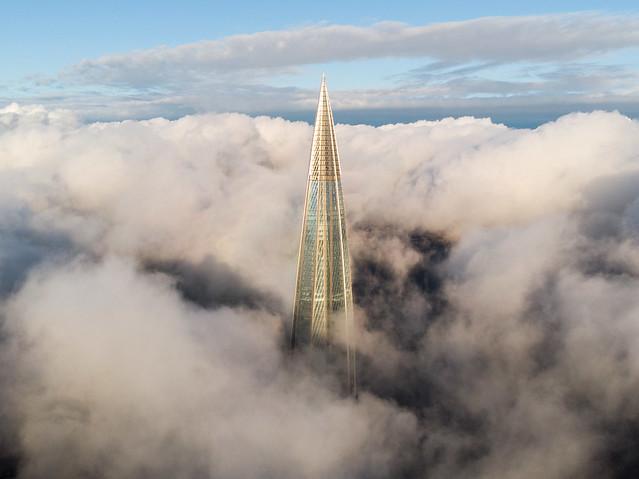 Skyscraper above the clouds