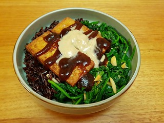 Cinnamon Tofu; Garlic Almond Collards