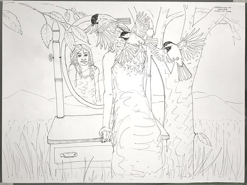 pen ink sketch drawing nature trees leaves mirror girl person portrait birds landscape field chickadee