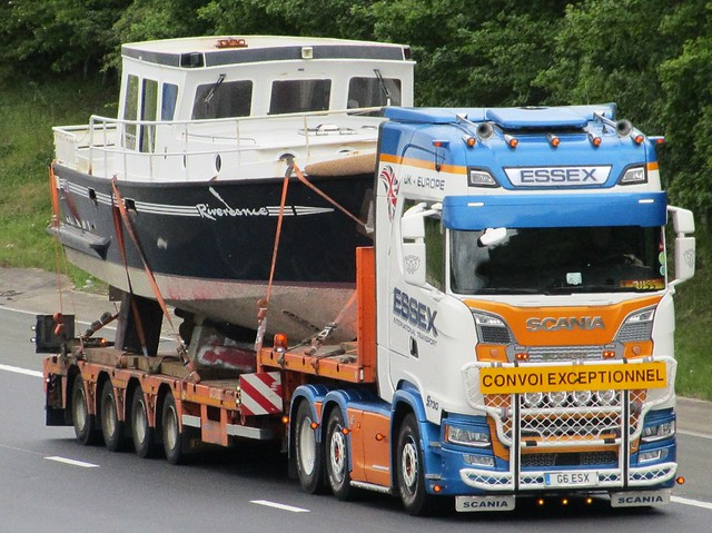Essex International Transport, Super Scania Convoi Exceptionnel (G6ESX) With MV Riverdance On The Trailer.