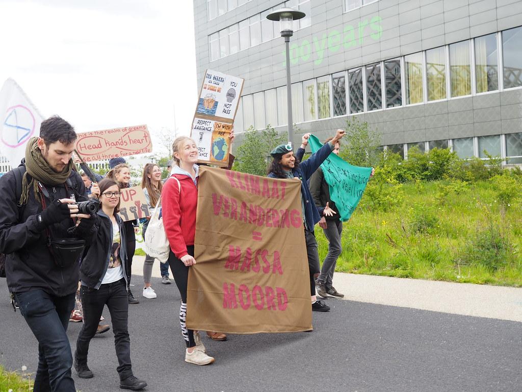   瓦赫寧恩大學學生發起的氣候遊行。攝影:黃于恬。  