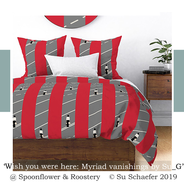 Design Challenge entry: 'Wish you were here: Myriad vanishings by Su_G': bedding mockup