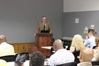 Tue, 2019-05-28 06:58 - Sanford Adams, writer, director and producer of 'Beyond Barbados: The Carolina Connection,' speaks to attendees at the documentary film's first screener event in Columbia, S.C. on June 3, 2019.