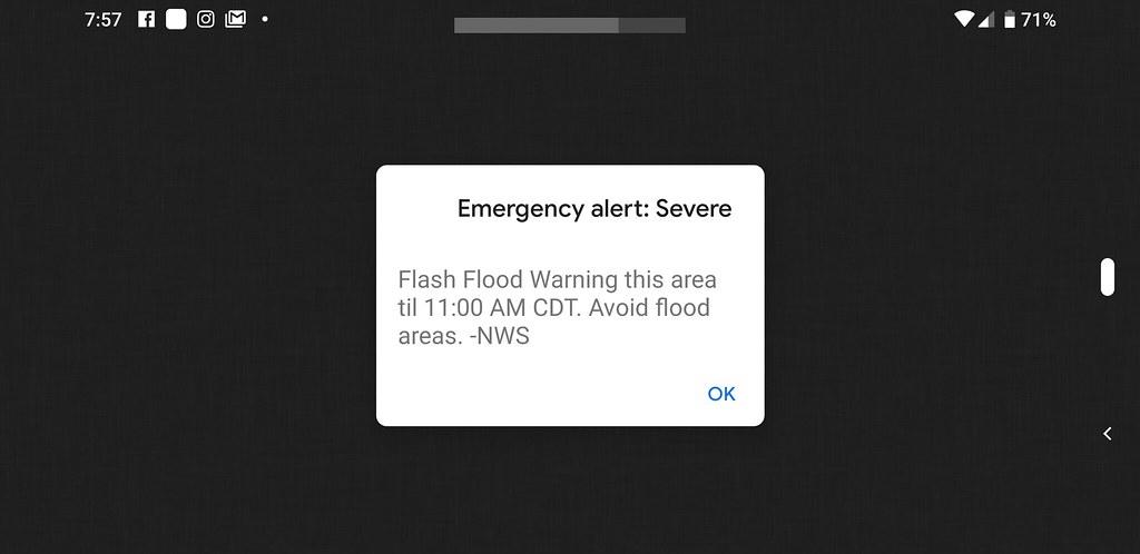 Аварийное оповещение. Внезапные наводнения. Избегайте затопляемые области.