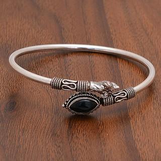 Black Onyx 925 Stamped Silver Bracelet Bangle
