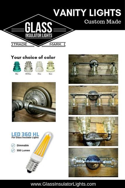 Glass Insulator Vanity Lights