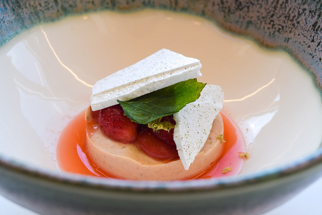 Strawberrty Mousse with Strawberry and Lemon Balm at at Fifteen, Cornwall