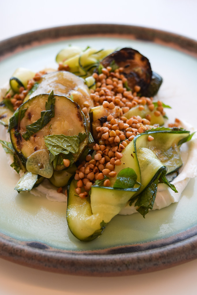 Courgette with Goats Cheese and Buckwheat at at Fifteen, Cornwall