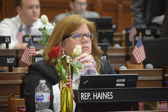 Rep. Haines listens to debate in the House Chamber on the last day of session
