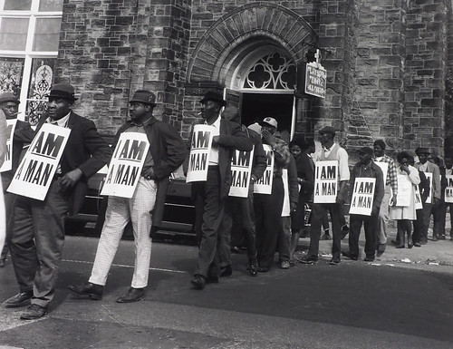 Ernest C. Withers, Sanitation workers assemble in front of Clayborn Temple for a solidarity march, Memphis, TN, March 28, 1968, © The Estate of Ernest C. Withers