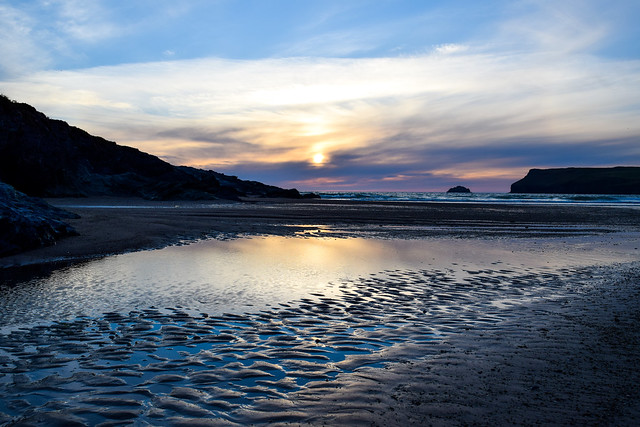 Sunset at Polzeath Beach, Cornwall