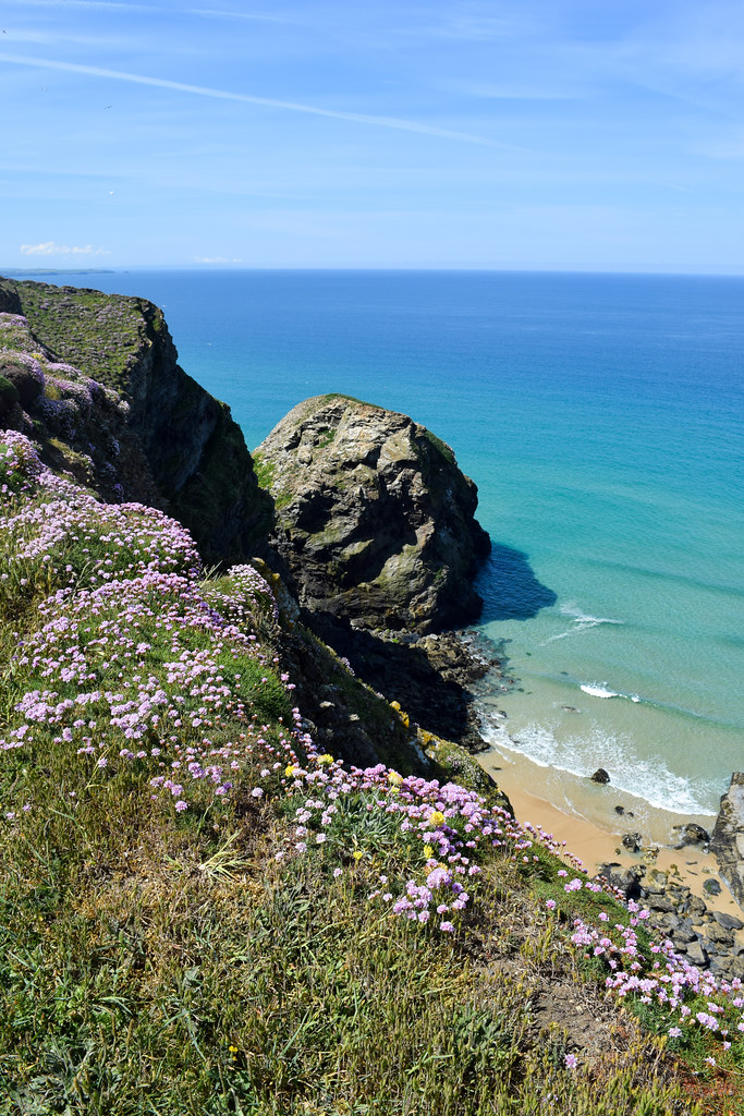 Cloudless Skies at the Bedruthan Steps, North Cornwall